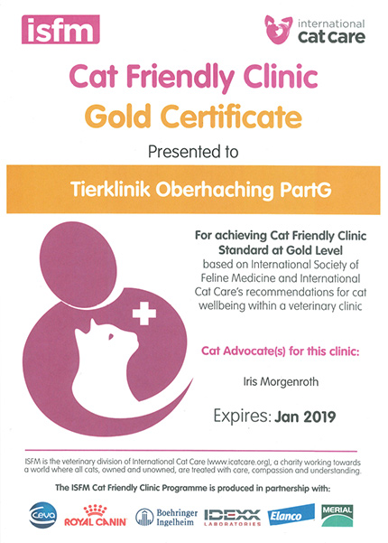 Cat friendly clinik certificate 2018